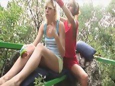 Lesbian teenies in forest masturbating